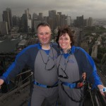 The two of us in Sydney, climbing the bridge.