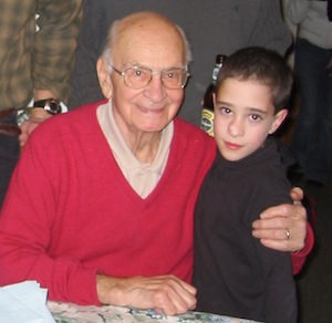Poppy on his 90th birthday with my son.